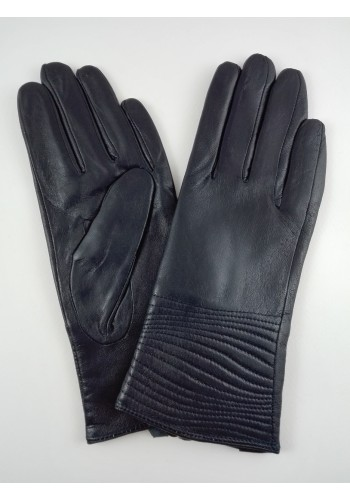 S 044  Нов модел дамски ръкавици от фина естествена ярешка  кожа в тъмно синьо