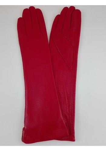 """S 40 - Дамски дълги ръкавици """"40 см"""" от естествена кожа в червено"""