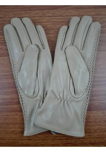 LUX 042   Дамски ръкавици от фина - лицева естествена кожа в бежово