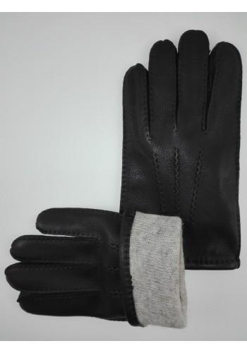 ЕЛЕН 121  Мъжки ръкавици от луксозна ЕЛЕНСКА кожа в черно-ръчна изработка