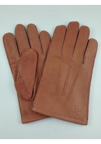 ЕЛЕН 121  Мъжки ръкавици от луксозна ЕЛЕНСКА кожа в натурален цвят-ръчна изработка