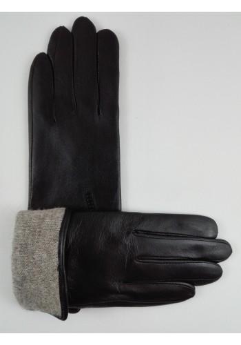 S 1508 - Дамски ръкавици от фино обработена естествена кожа в черно с плетен хастар