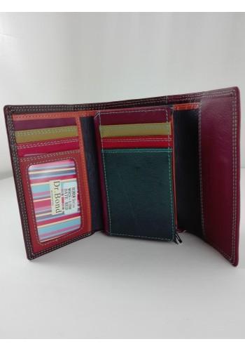 SWRS-13M  Дамско портмоне от италианска естествена кожа в бордо и кафе с магнитен капак
