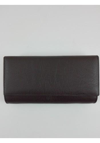 SLW 50  Дамски портфейл от естествена кожа в тъмно кафяво с много отделения
