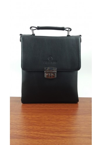S 5920-3  Мъжка класическа чанта от висококачествена еко кожа  черна за през рамо и в ръка - тип Борсета