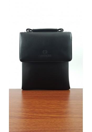 S 5674-3 Мъжка класическа чанта от висококачествена еко кожа  черна за през рамо и в ръка - тип Борсета