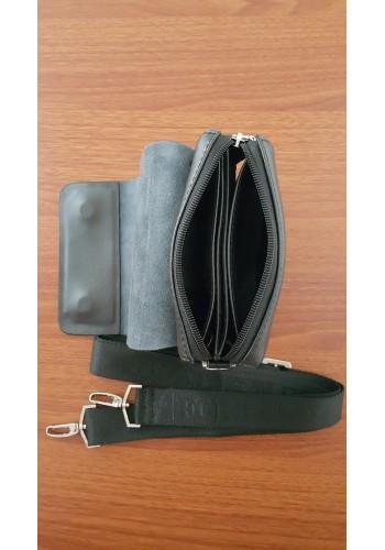 S 3011-1 Мъжка чанта от естествена кожа Bradford за през рамо и в ръка с цял капак - малка