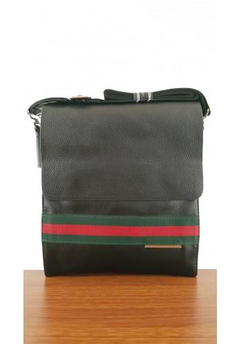 S 6446-1К   Мъжка чанта от висококачествена естествена кожа- телешки бокс изчистена за през рамо