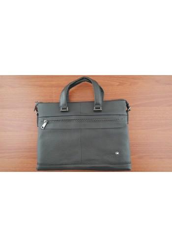S 8171 Мъжка бизнес чанта за документи и лаптоп от висококачествена естествена кожа- телешки бокс черна за през рамо и в ръка