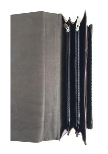 SD 41-0  Мъжка бизнес чанта за документи от висококачествена еко кожа кафява за през рамо и в ръка - класически модел
