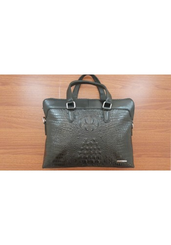 S 1816 Мъжка бизнес чанта за документи и лаптоп EXCLUSIVE от висококачествена естествена кожа-щампован CROCODILE  черна за през рамо и в ръка
