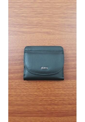 S 200-1A  Малко дамско портмоне от естествена кожа в черно с външен монетник