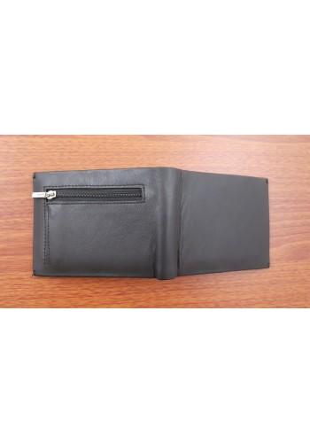 SM 460  Малък мъжки портфейл от естествена кожа в черно с щипка и външен монетник