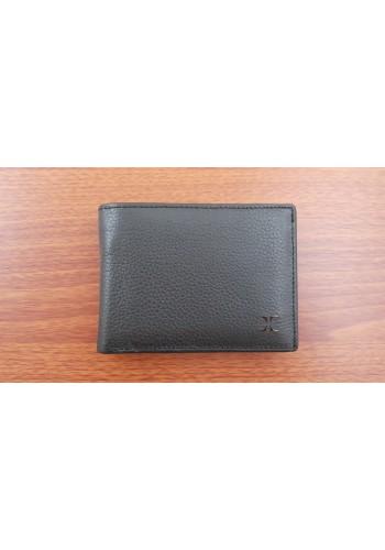 S 19-56B  Мъжки портфейл от естествена телешка кожа в черно с много отделения