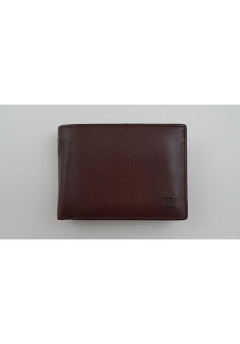 S 19-56B Мъжки портфейл от естествена телешка кожа в кафяво с много отделения