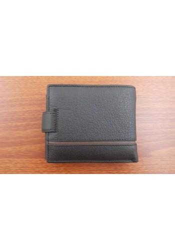 SA 1059-1  Мъжки портфейл от естествена телешка кожа в черно с много отделения