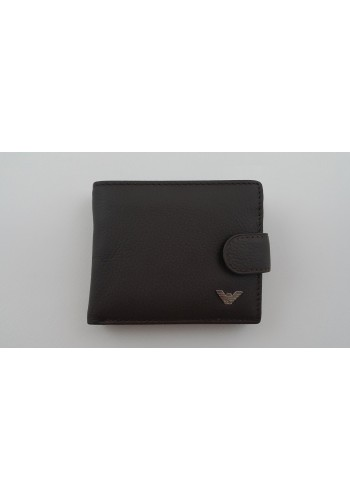 S 5005 Малък мъжки портфейл от естествена кожа в кафяво със закопчаване