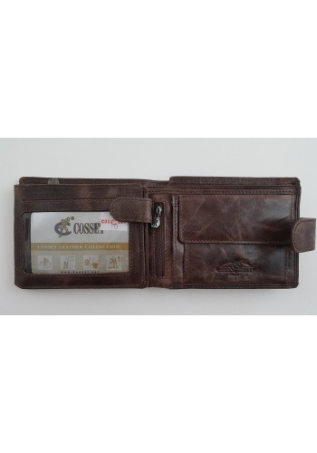 Мъжки портфейл COSSET от италианска естествена кожа в кафяво с много отделения