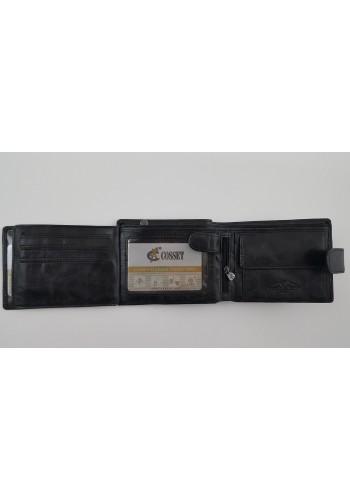 Мъжки портфейл COSSET от италианска естествена кожа в черно с много отделения