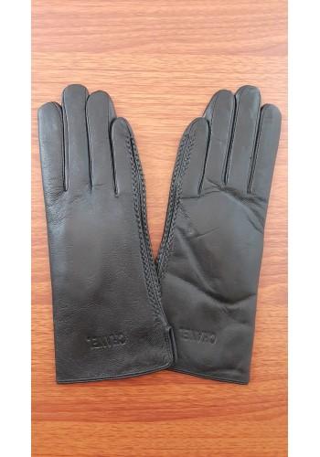 S 042 - Дамски ръкавици от естествена кожа в черно