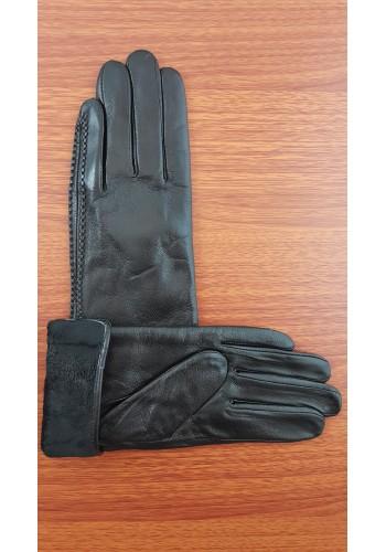 S 043 - Дамски ръкавици от естествена кожа в черно