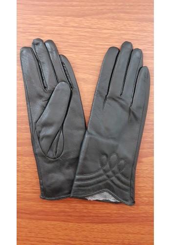 S 1607 - Дамски ръкавици от естествена кожа в черно