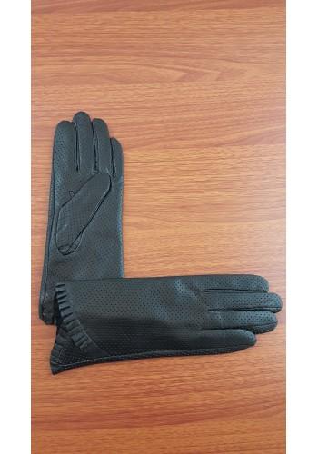 S 001 - Дамски ръкавици от естествена кожа в черно перфорирани изцяло
