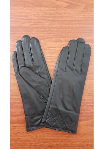 S 1548 - Дамски ръкавици от естествена кожа в черно