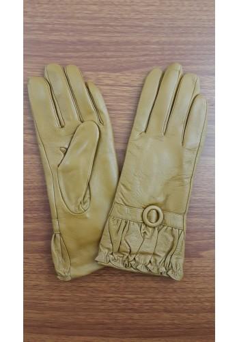 B 202 - Дамски ръкавици от естествена кожа в цвят горчица