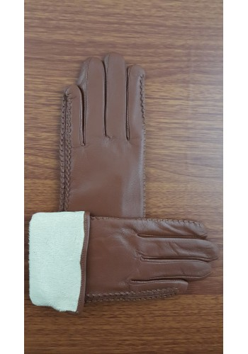 S 042 - Дамски ръкавици от естествена кожа в кафяво