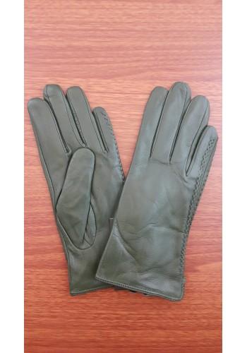 S 042 - Дамски ръкавици от естествена кожа в маслено зелено