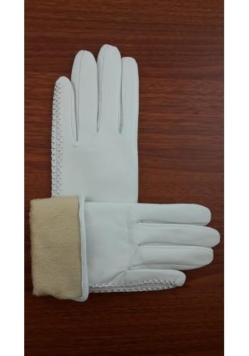 S 042 - Дамски ръкавици от естествена кожа в бяло