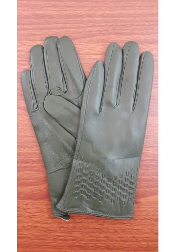 SS 51 - Дамски ръкавици от естествена кожа в маслено зелено
