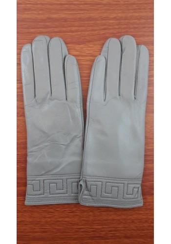 S 1485 - Дамски ръкавици от естествена кожа в светло сиво