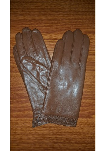 S 1568 - Дамски ръкавици от естествена кожа в светло кафяво