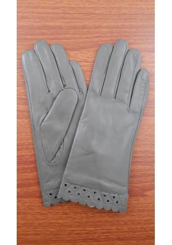S 1568 - Дамски ръкавици от естествена кожа в тъмно сиво
