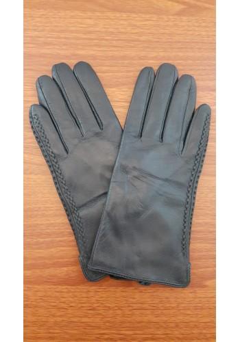 S 042 - Дамски ръкавици от естествена кожа в тъмно синьо