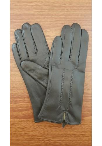 S 002 - Дамски ръкавици от естествена кожа в тъмно кафяво - шоколад