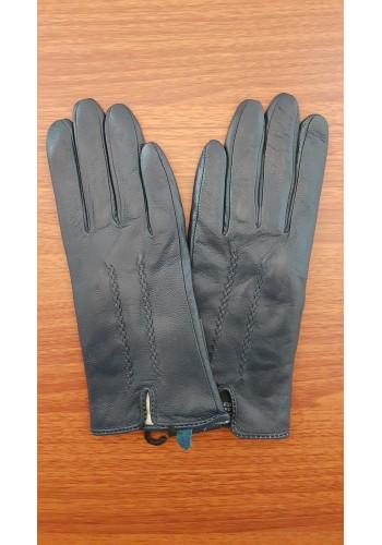 S 002 - Дамски ръкавици от естествена кожа в тъмно синьо