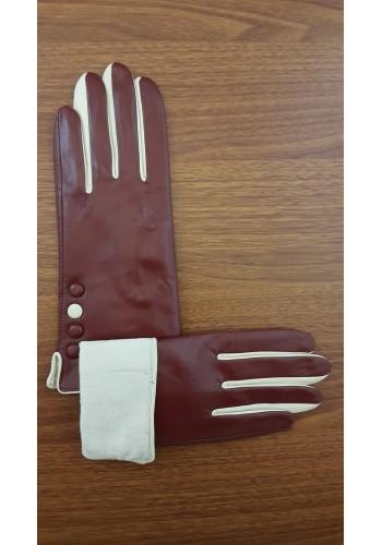 LUX 047 - Дамски ръкавици от луксозна естествена кожа в бордо с бежови елементи