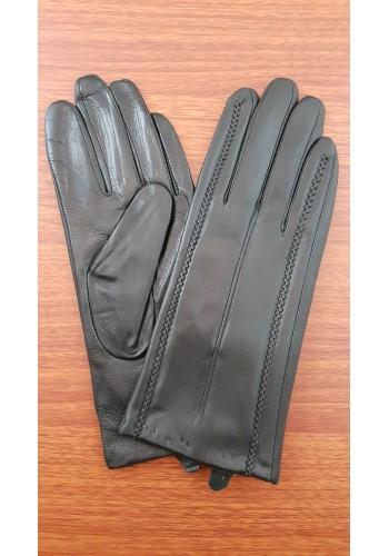 LUX 1674 - Дамски ръкавици от луксозна естествена кожа в черно