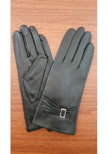 LUX 1677 - Дамски ръкавици от луксозна естествена кожа в черно