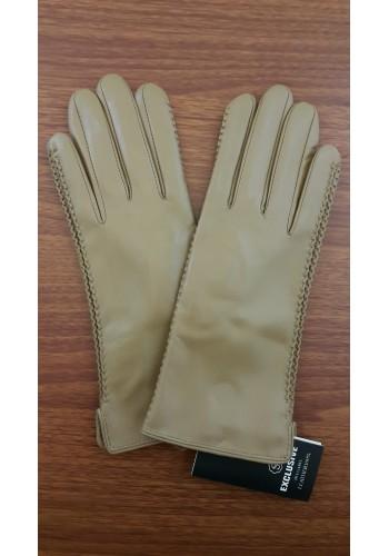 LUX 042 - Дамски ръкавици от луксозна естествена кожа в лешников цвят