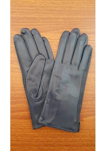 LUX 042 - Дамски ръкавици от луксозна естествена кожа в тъмно син цвят