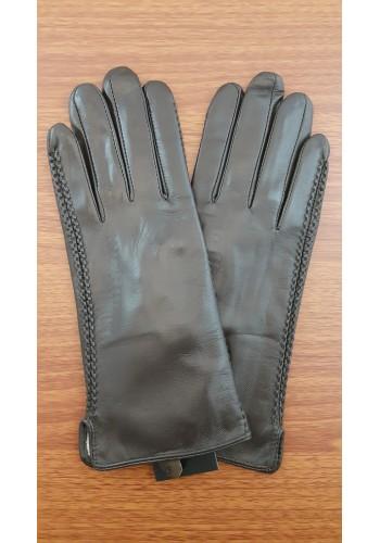 LUX 042 - Дамски ръкавици от луксозна естествена кожа в тъмно кафяво