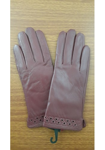 S 1568 - Дамски ръкавици от естествена кожа в тъмно бордо - вишна