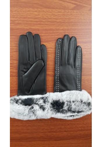 LUX 048 - Дамски ръкавици от луксозна естествена кожа в черно със заешки пух
