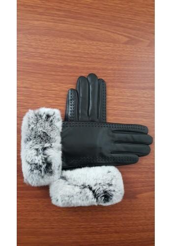 LUX 049 - Дамски ръкавици от луксозна естествена кожа в черно със заешки пух