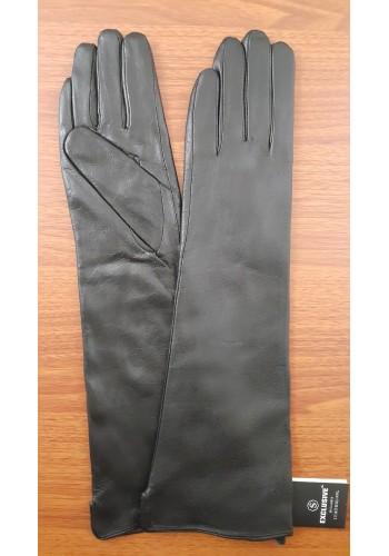 S 40 - Дамски дълги ръкавици от естествена кожа в черно