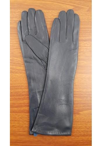 S 40 - Дамски дълги ръкавици от естествена кожа в тъмно синьо